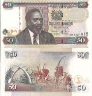 Kenya P41, 50 Shillings Mol / Mobasa Tusks Mnmt, Camel Caravan $5CV - Kenya