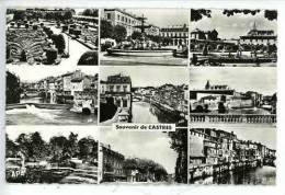 Castres Souvenir Multivues Eveche J.Jaures Théâtre Musée Agout Pont Biais Mail Bd Aribat Noir Et Blanc Dentelée - Castres