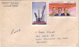 Lettre De Cuba Vers Montignies-lez-Lens Du 17/1/1981 Avec Timbres Espace Soyuz + Timbre 14c Serafin Sanchez Au Dos - Cuba