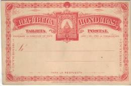 Entier Vierge Tarjeta Postal Du Honduras - Honduras