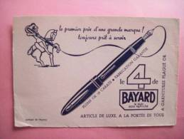 BUVARD STYLO  Plume Or 4 DE BAYARD - Motif Cavalier - Noir Sur Rose - Buvards, Protège-cahiers Illustrés