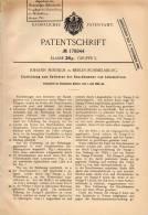 Original Patentschrift - J. Minnich In Rummelsburg - Berlin , 1904, Apparat Für Lokomotive - Rauchkammer , Heizer ,Lok ! - Historische Dokumente