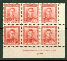 New Zealand: 1938/44   KGVI SG608    1½d   Scarlet [imprint Block - 129]     MH - Neufs