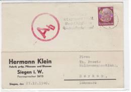 Karte Aus Siegen 23.12.40 Nach Borkopp / Dänemark - Zensur - Alemania