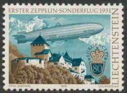 "Liechtenstein 1979 Mi 724 YT 665 Sc 664 ** 1st Zeppelin Special Flight LZ 127 ""Graf Zeppelin"" Over Vaduz Castle - Europa - Kastelen"
