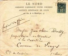 5C SUR ENVELOPPE PUBLICITAIRE LE NORD CIE D'ASSURANCE CONTRE L'INCENDIE AGENCE DENERALE DE LYON+ OBLITERATION CONDRIEU - 1876-1898 Sage (Type II)