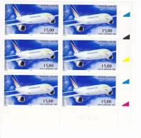 Coins Datés De 6 Timbres PA 63 Airbus A300 Année 1999 Neuf ** - Poste Aérienne