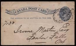 A1652) Canada Kanada Postcard From Toronto 9.9.1889 To Fenelon Falls - 1860-1899 Règne De Victoria