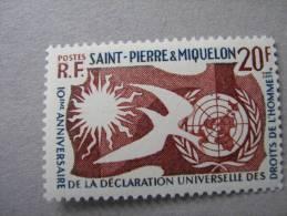S P M    P 358 * *  DROITS DE L HOMME   . - Neufs