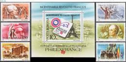 ROMANIA, 1989, Philatelic Exhibition, French Revolution, Bicent, 6 Stamps + Souvenir Sheet, MNH (**), Sc 3587-93 - Expositions Philatéliques