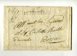 DC270-LOMBARDIA 1822 Lettera PRALBONIO-BRESCIA Via PONTEVICO-timbro Lineare PONTEVICOSPEDIZIONE SOLAMENTE PER RACCOMANDA - 1. ...-1850 Vorphilatelie