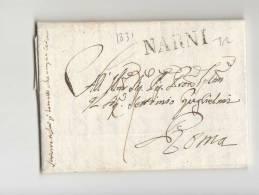 DC273-STATO CHIESA 1831 Lettera NARNI-ROMA-timbro Lineare NARNI - 1. ...-1850 Vorphilatelie
