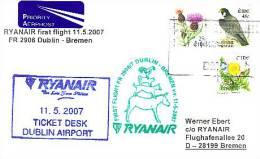 Erstflugpost - Ryanair - Dublin - Bremen - 11.05.2007 - Nebenstempel Mit Märchenmotiv - Tiere [dx68f] - Märchen, Sagen & Legenden