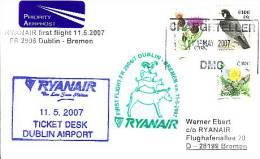Erstflugpost - Ryanair - Dublin - Bremen - 11.05.2007 - Nebenstempel Mit Märchenmotiv - Tiere [dx68h] - Hunde