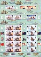 JERSEY 2001 Royal Navy Ships- Set Of Sheets Of 10 MNH ** Sc. 982/987, Mi 973/978 - Jersey