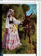 COSTUMI SICILIANI  -   Femme En Costume Folklorique Et  Ane Attelé - Sin Clasificación