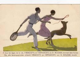 APRES LE TENNIS - CARTE ART DECO PUBLICITAIRE DE L'HEMOSTYL DU DOCTEUR ROUSSEL - Marty Design - Publicité