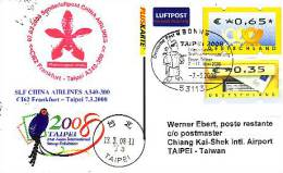 Sonderflugpost - China Airlines - Frankfurt - Taipei - 07.03.2008 - Airbus A340 - Briefmarkenschau Taipei 08 [dx98b] - BRD