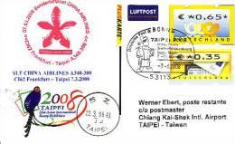 Sonderflugpost - China Airlines - Frankfurt - Taipei - 07.03.2008 - Airbus A340 - Briefmarkenschau Taipei 08 [dx98e] - Orchideen