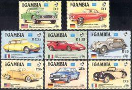 1986 Gambia ,Ameripex, Automobiles (Citroen,Bugatti,Mercedes ) 8v. Transport Cars,autos,voitures,coche S,Mi 626/33  MNH - Auto's