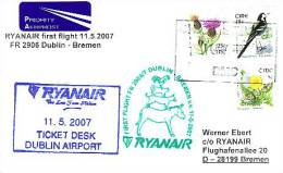 Erstflugpost - Ryanair - Dublin - Bremen - 11.05.2007 - Nebenstempel Mit Märchenmotiv - Tiere [dx68j] - Hauskatzen