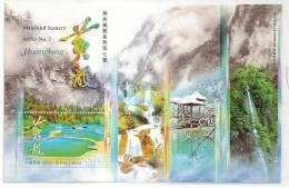 Hong Kong 2008 China Mainland Scenery Huanglong Stamp S/s Falls Lake Snow Natural Heritage - 1997-... Chinese Admnistrative Region