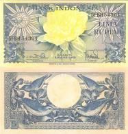 Indonesia P65, 1959, 5 Rupiah, Flower / Sunbird, 1959 VIVID! - Indonesia