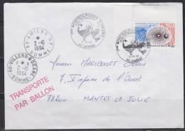 = 2 10 94 1ères Montgolfiades D'Amiens 80 Transporté Par Ballon Cachets Arrivée 80 Villers Bocabe & Amiens RP - Airships