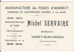 Manufacture De Toile D'Annecy - Cartes De Visite