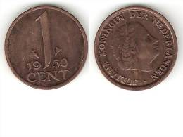 Netherlands  1 Cent 1950 Km 180  Xf+ !!! For Other Dates This Type Please Ask - [ 3] 1815-… : Royaume Des Pays-Bas
