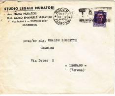 IMPERIALE  R.S.I. C. 50 Modena Legnago Verona 12 4 1944 + Annullo Meccanico A Targhetta - 4. 1944-45 Repubblica Sociale