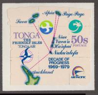 Unusual / ODD, Air Route To Auckland Suva  Apia Pago Pago Map, Flag, Decade Of Progress Self-adhesive MNH Tonga - Tonga (1970-...)
