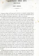 CHATEAU DES IFS PRES FECAMP 1867 SEINE MARITIME PAR CLAUDE SAUVAGEOT TEXTE ET 5 PLANCHES ARCHITECTURE - Architectuur