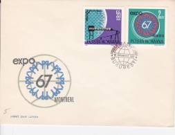 EXPO MONTREAL, TRAM, ATOM, 2X COVERS FDC 1967, ROMANIA - FDC