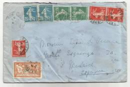 1927 - ENVELOPPE De PAU (PYRENEES ATLANTIQUES) Pour MADRID (ESPAGNE) - SEMEUSE - MERSON - Storia Postale