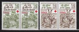 N° 2024 Et 2025 Au Profit De La Croix Rouge:2 Paires De 2 Timbres: Les Fables De La Fontaine:Lièvre Et La Tortue, Le - France