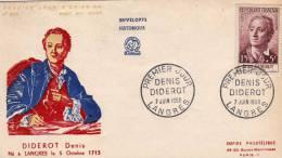 France: 19658 Belle Fdc Denis Diderot Cachet Langres - Ecrivains