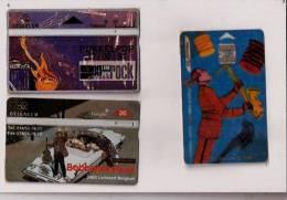 2 Télécartes Belges-GUITARES,rock- 1 Francaise (trombonne?)carte Transparente - Musique