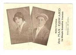 Carte : Souvenir Des Max Edward : Le Couple Comédiens Touristes : Format : 12cm / 8 Cm - Artistes
