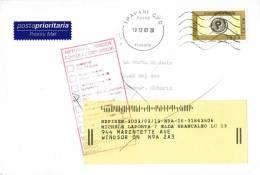 962-Italia 10.12.2001 - ESTERO  AL MITTENTE -busta Viaggiata Con Isolato  P.Prioritaria £. 1200 Trapani/Windsor Ontario - 6. 1946-.. Republic