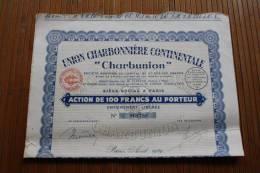 """Union Charbonnière Continentale"""" Charbunion """" Action 100 Fr. Au PorteurTITRE Paris Août 1929 - Mineral"""