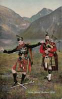 Ghillie Callum, The Sword Dance - Bagpiper And Man In Full Tartan Performing Sword Dance - Douane