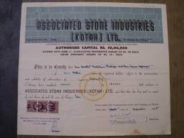 Associated Stone Industries Kotah Ltd 1955 Scarce Hard To Get Shsare Certificate India - Industry