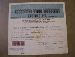 Associated Stone Industries Kotah Ltd 1955 Scarce Hard To Get Share Certificate India - Industry
