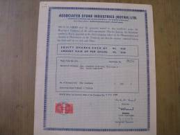 Associated Stone Industries Kotah Ltd 1985 Scarce Hard To Get Share Certificate India - Industry