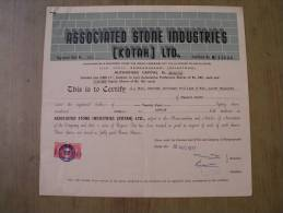 Associated Stone Industries Kotah Ltd 1977 Scarce Hard To Get Share Certificate India - Industry