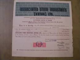 Associated Stone Industries Kotah Ltd 1980 Scarce Hard To Get Share Certificate India - Industry