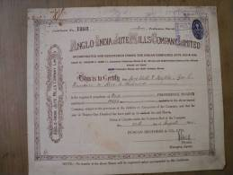 Anglo India Jute Mills Company Ltd 1943 Scarce Hard To Get Share Certificate India - Industry