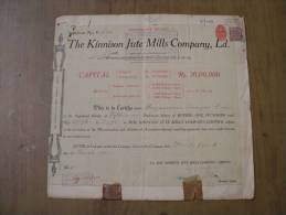 The Kinnison Jute Mills Company Ltd 1941 Scarce Hard To Get Share Certificate India - Industry