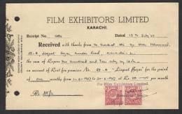 PAKISTAN 1967 Money Receipt Document From Film Exhibitors Limited Karachi With 2 Anna Pair Of Revenue Stamps 15-1-1967 - Pakistan